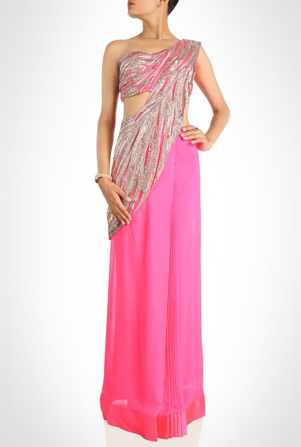 Gaurav Gupta Designer Pink Pre Draped Saree by Kimaya