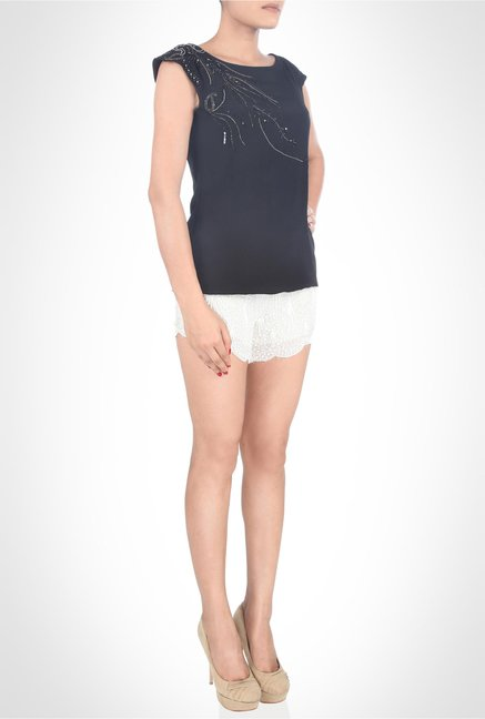 Jaenette D'Souza Designer Wear Navy Top by Kimaya