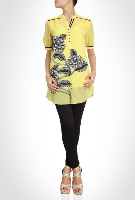 Pankaj & Nidhi Designer Wear Yellow Tunic by Kimaya