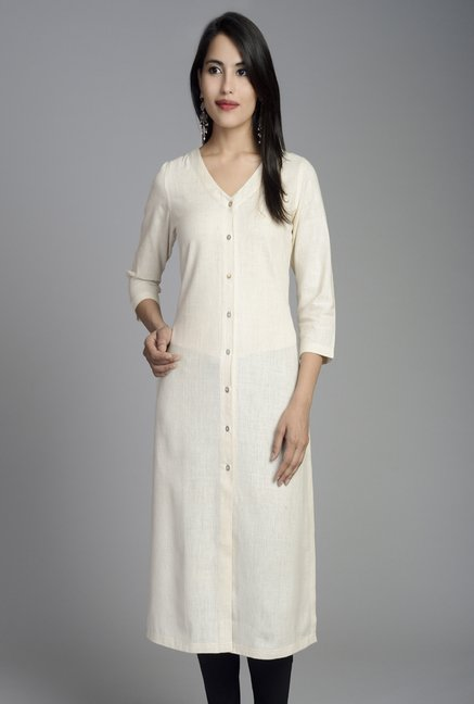 Fabindia Off White Solid Kurta