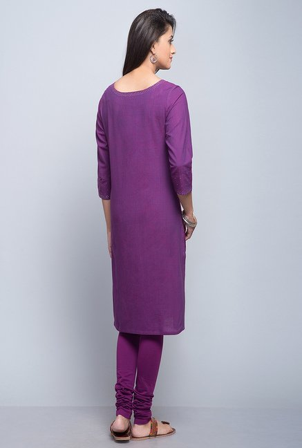 Fabindia Purple Embroidered Kurta