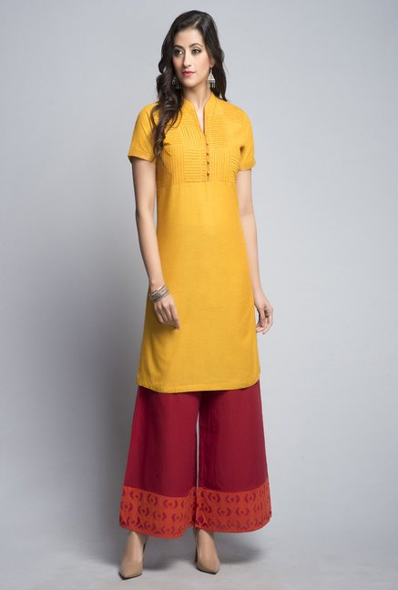 2f6bc71b234 Buy Fab India Mustard Solid Kurti Online at best price at TataCLiQ