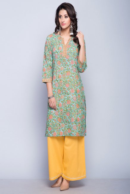 4e896525a Buy Fabindia Green Floral Print Kurta Online at best price at TataCLiQ