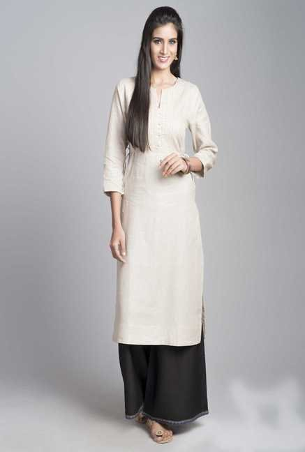 Fabindia Beige Embroidered Kurta