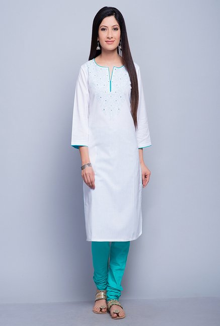 Fabindia White Embroidered Kurta