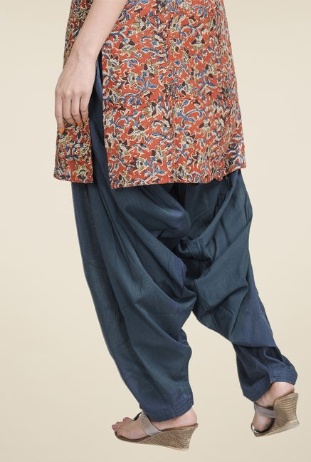 Fabindia Navy Solid Patiala
