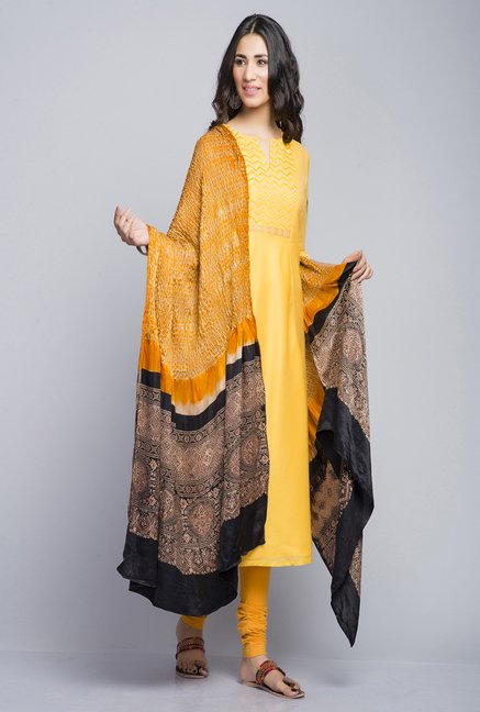 Fabindia Yellow Solid Kurta