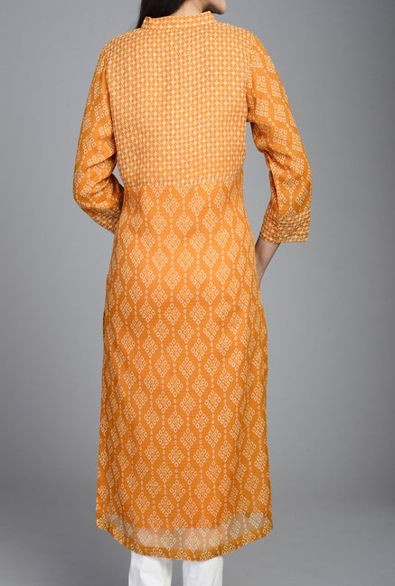 Fabindia Orange Printed Kurta
