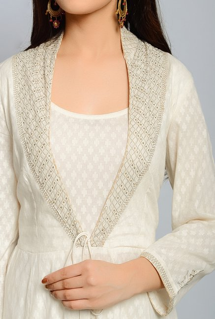 Fabindia Off White Self Print Kurta