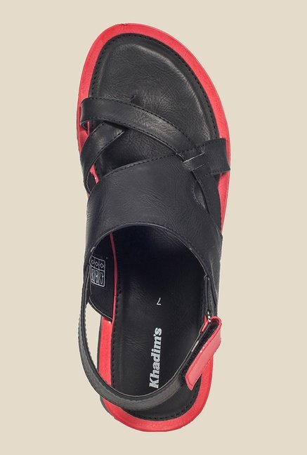 Khadim's Black & Red Back Strap Sandals