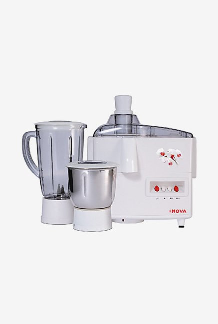 Nova N-123 500 Watt 2 Jar Juicer Mixer Grinder (White)