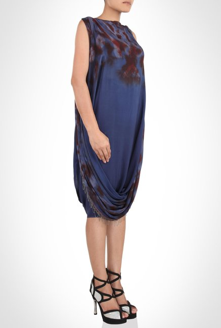 Babita Malkhani Designer Wear Blue Print Dress by Kimaya