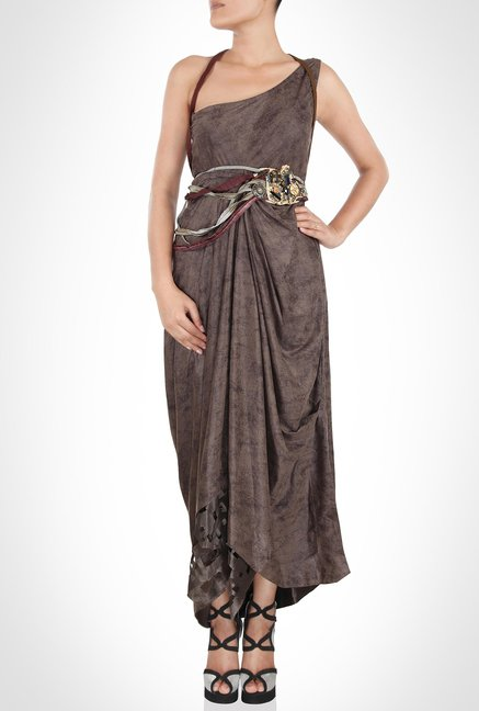 Babita Malkhani Designer Wear Leather Brown Dress by Kimaya