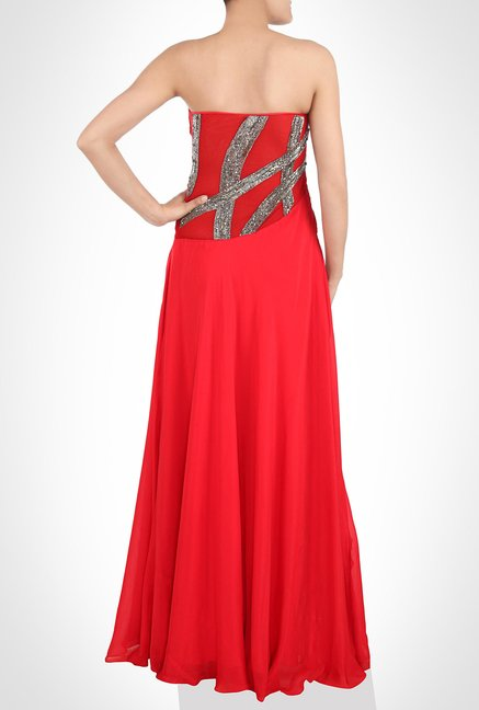 Babita Malkhani Designer Wear Red Maxi Dress by Kimaya