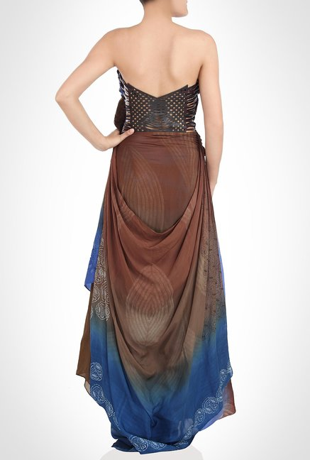 Babita Malkhani Designer Wear Brown Tube Dress by Kimaya
