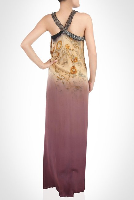Babita Malkhani Designer Wear Brown Strap Dress by Kimaya