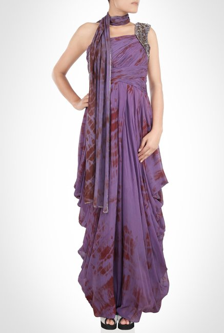 Babita Malkhani Designer Wear Purple Maxi Dress by Kimaya