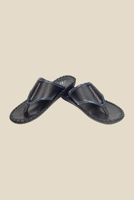 Khadim's Black & Navy Thong Sandals