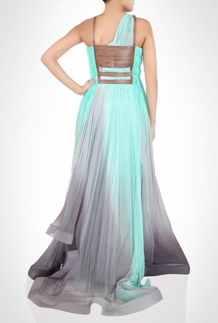 Alpana Neeraj Designer Wear Hued Sea Green Gown by Kimaya