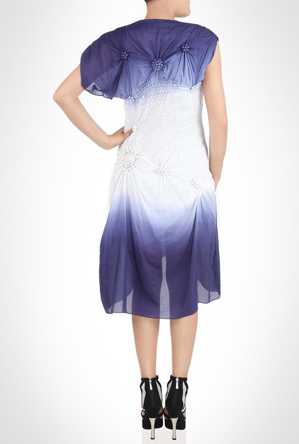 Babita Malkhani Designer Wear White & Blue Dress by Kimaya