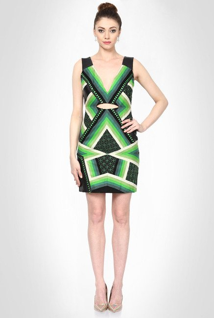 Pankaj & Nidhi Designer Wear Green Geometric Dress by Kimaya