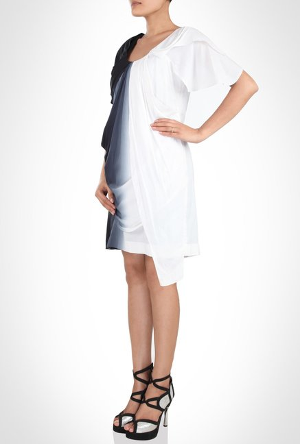 Pankaj & Nidhi Designer Wear White & Black Tunic by Kimaya