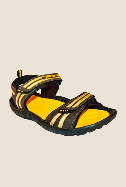 Khadim's Yellow & Brown Floater Sandals