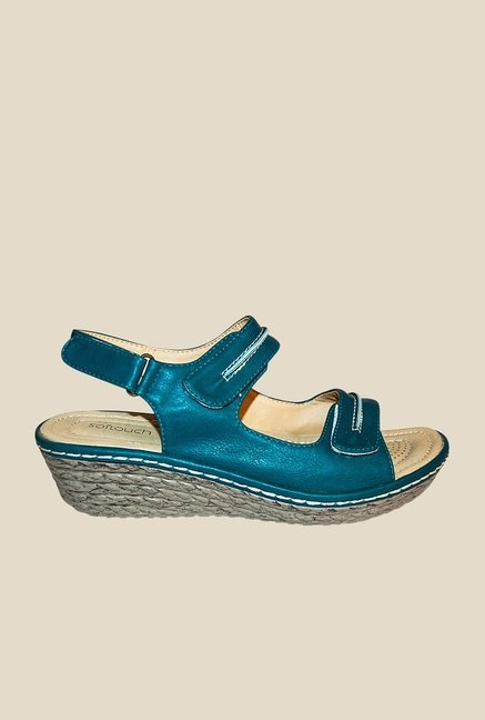Khadim's Blue Back Strap Wedges