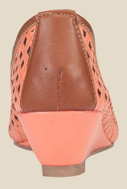 Khadim's Peach & Brown Peeptoe Wedges