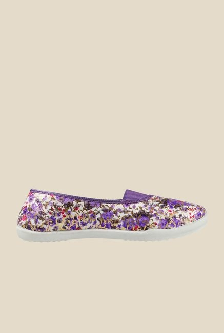 Khadim's Purple & White Flat Ballets