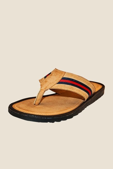 Khadim's Brown & Red Flip Flops