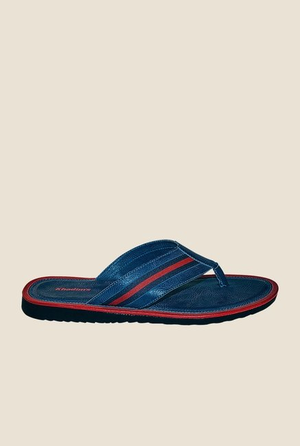 Khadim's Blue & Red Flip Flops