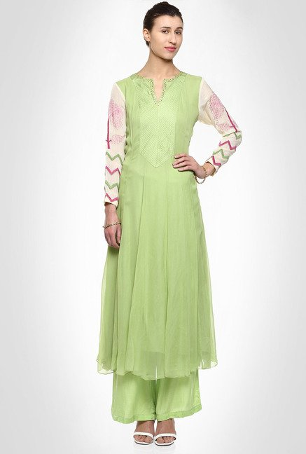 Saumya Pahwa Designer Wear Green Kurta Suit Set by Kimaya