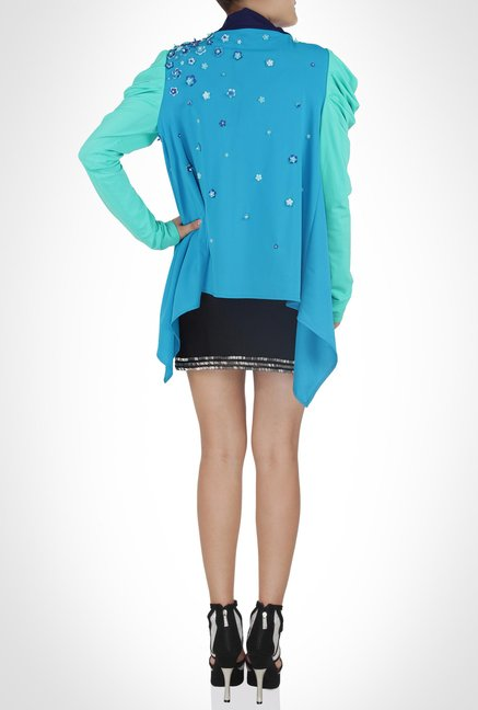 Rajdeep Designer Wear Blue Embellished Jacket by Kimaya