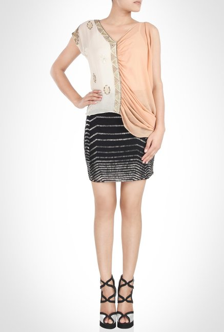 Surily Goel Designer Peach & Beige Top by Kimaya