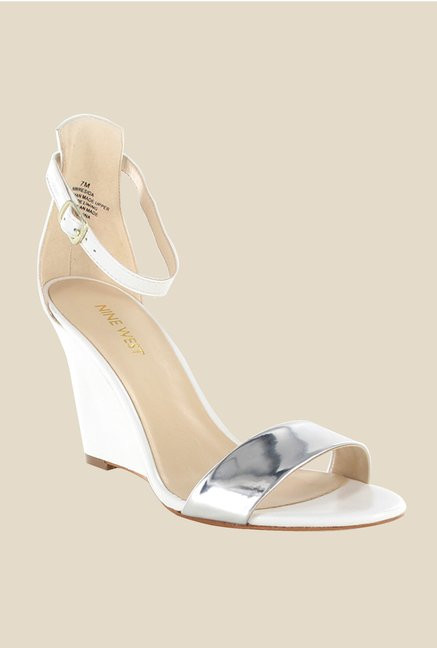 Nine West White & Silver Ankle Strap Wedges