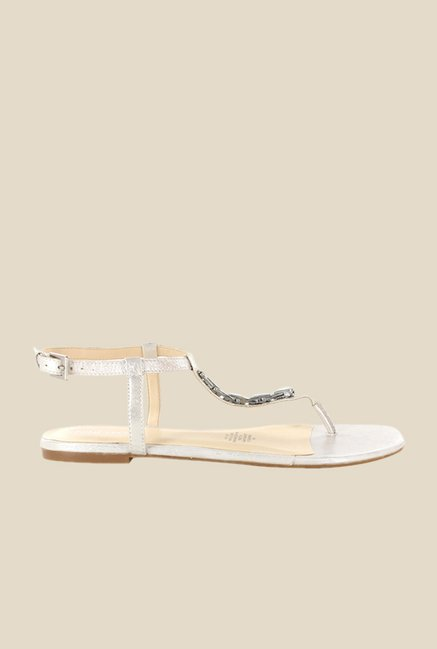 Nine West Silver & Beige Back Strap Sandals