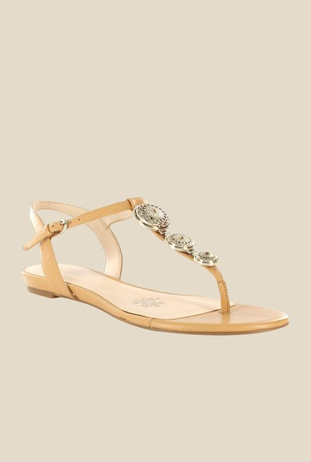 Nine West Natural Nude Ankle Strap Sandals