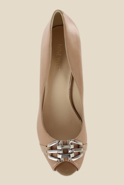 Nine West Nude Peeptoe Shoes