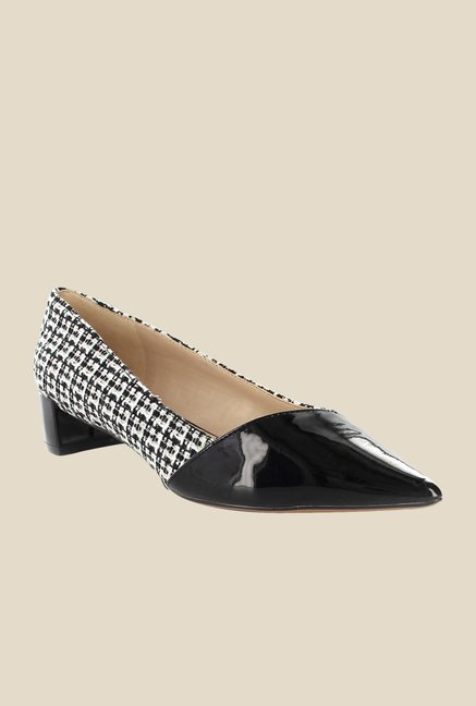 Nine West Black & White Block Heeled Pumps