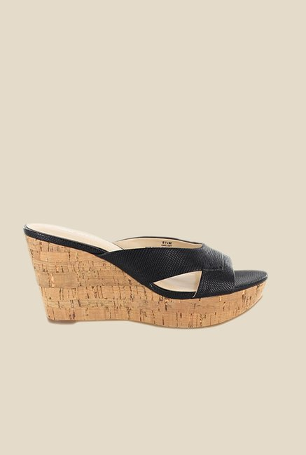 Nine West Black Wedge Heeled Sandals
