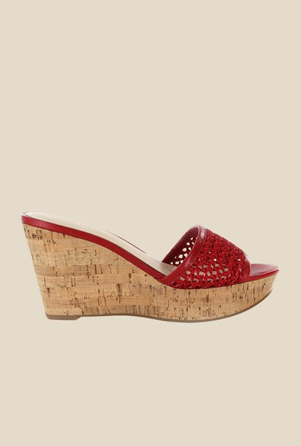 Nine West Red Wedge Heeled Sandals