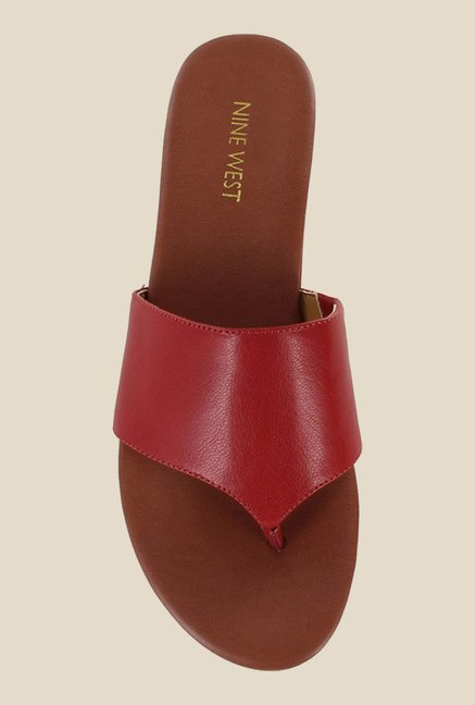Nine West Burgundy Thong Sandals