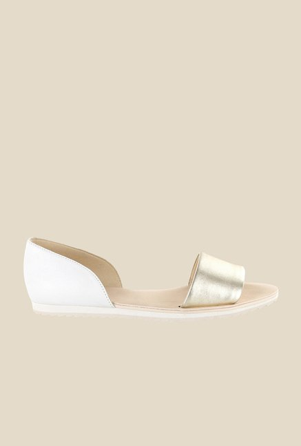Nine West Gold & White D'orsay Sandals