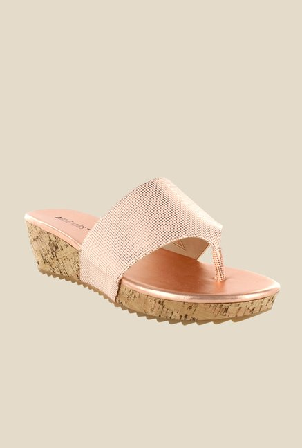Nine West Pink Wedge Heeled Thong Sandals