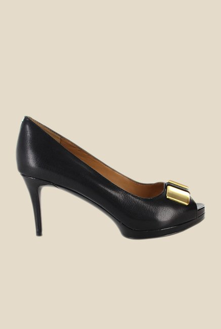 Nine West Black & Golden Peeptoe Shoes
