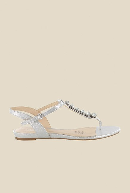 Nine West Silver Ankle Strap Sandals