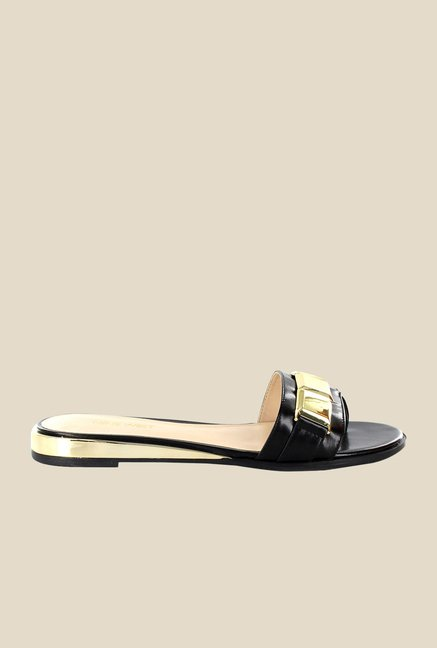 Nine West Black & Gold Casual Sandals