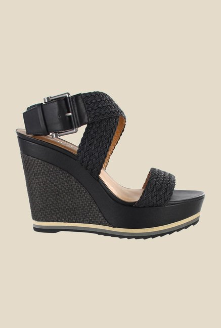 Nine West Black Cross Strap Wedges