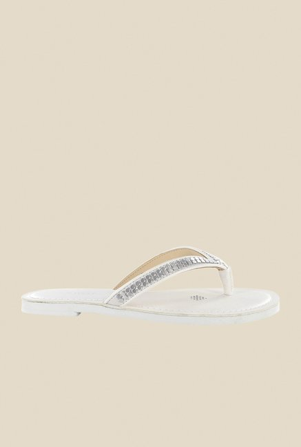 Nine West White & Silver Thong Sandals